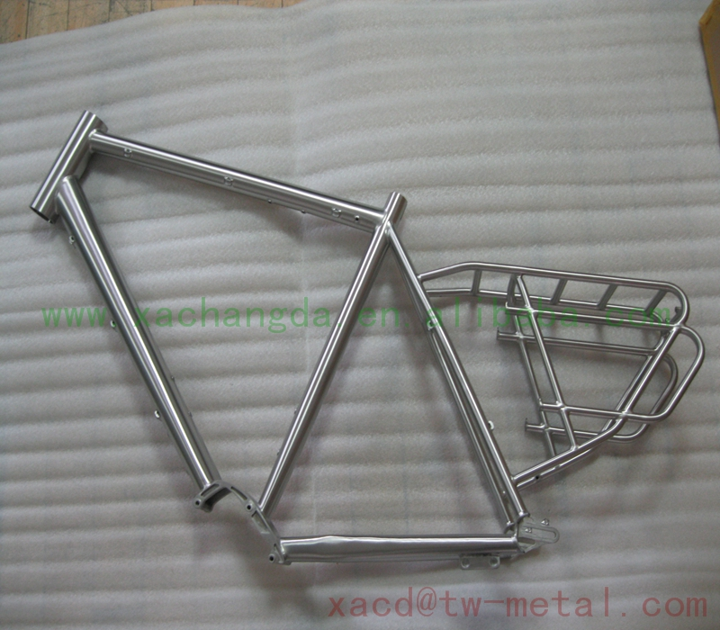 Ti Mountain bicycle frame with pinion box Custom titanium MTB bike frame with rear rack and sliding dropouts