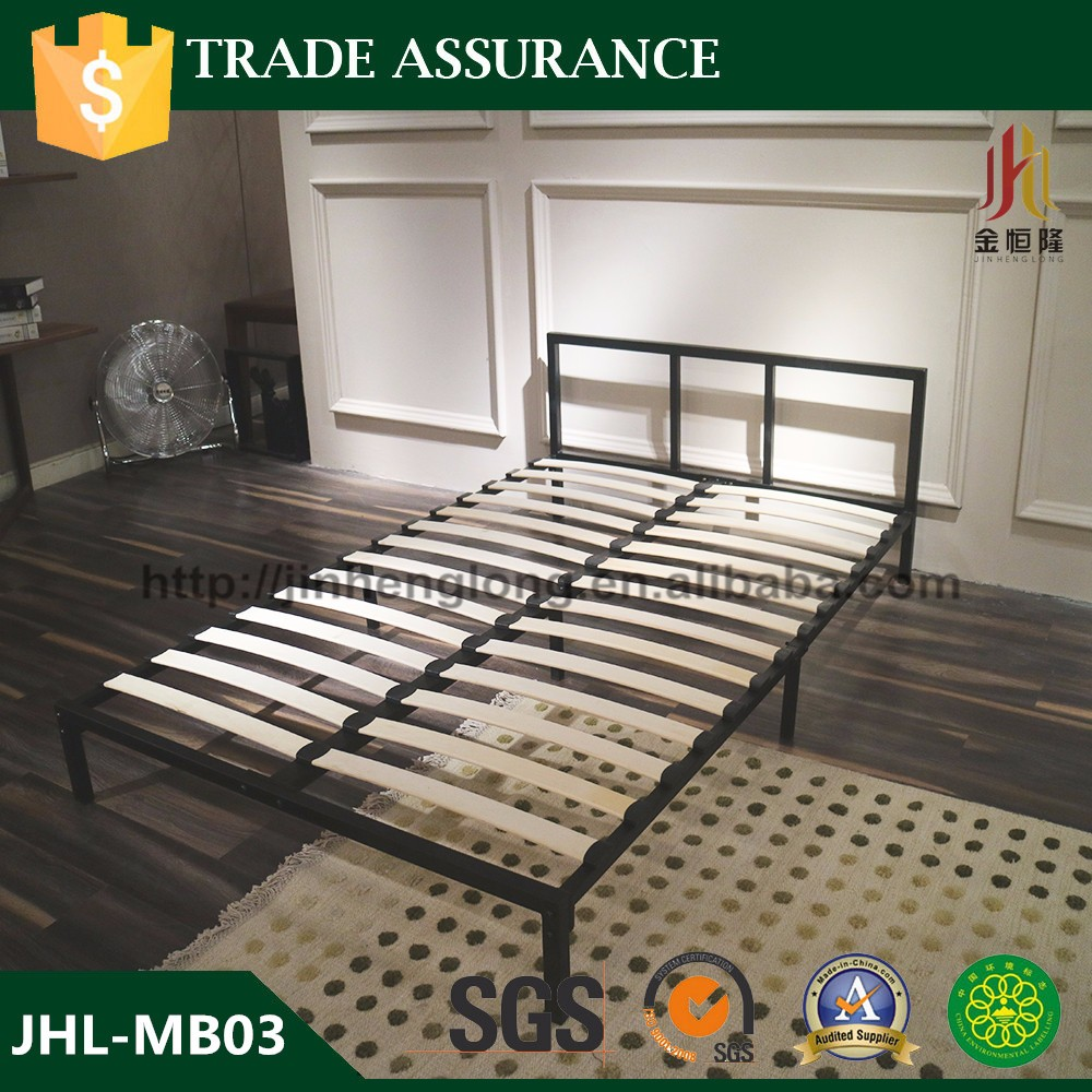 Hot sale KD structure metal <strong>bed</strong> with solid wood slats