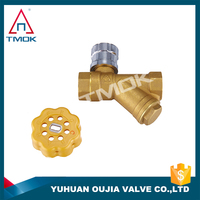 lock with key brass ball valve with strainer forged stainless steel filter 3-way flow control water lead free full port in china
