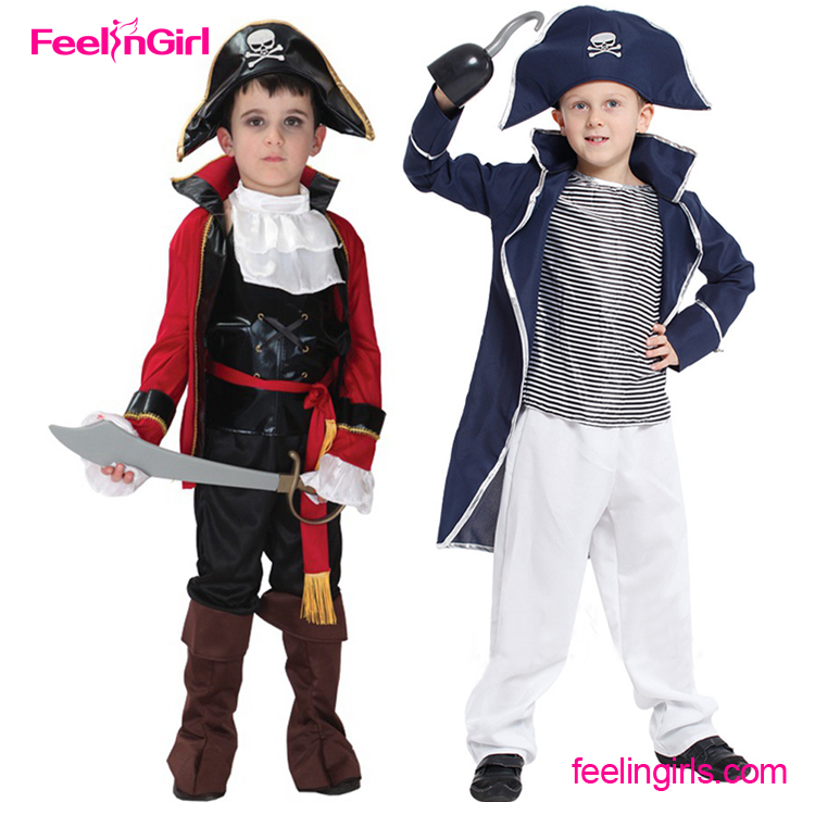 Sample Free Blue Hat Captain Hook Halloween Party Pirate Costume For Kids