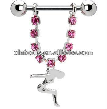 Pink Gem Mud Flap Girl Nipple Ring