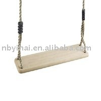 single wooden swing with PE rope