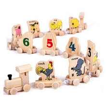 FQ brand wholesale colorful hot selling new style model letter small high kids Digital assembly railway wooden toy train