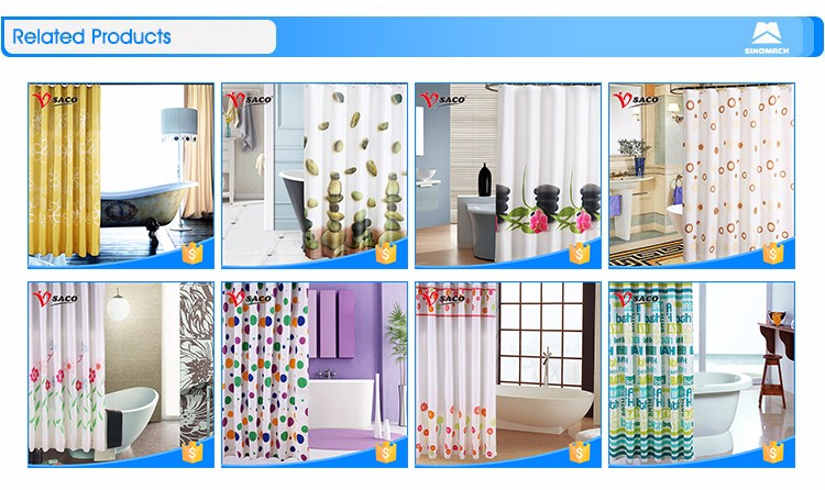 High quality mildew resistant bathroom PVC shower curtain