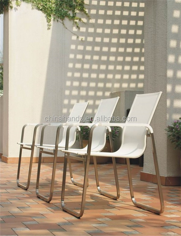 Outdoor Patio Furniture White Stainless Steel Waiting Chair