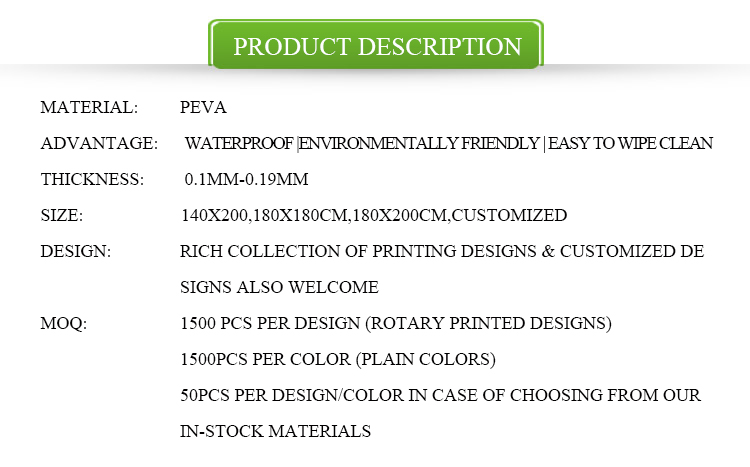 Printed PEVA Hookless Shower Curtain
