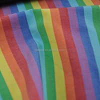Rainbow design environmental recycled fiber fabric for men's shirting