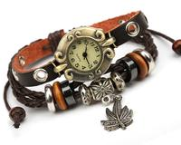 Man bracelet beaded leather watch bracelet, leather bracelet watch wholesale