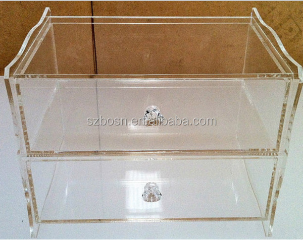 2 Tiers Clear Acrylic Jewellery Display Case High Quality Perspex Organizer