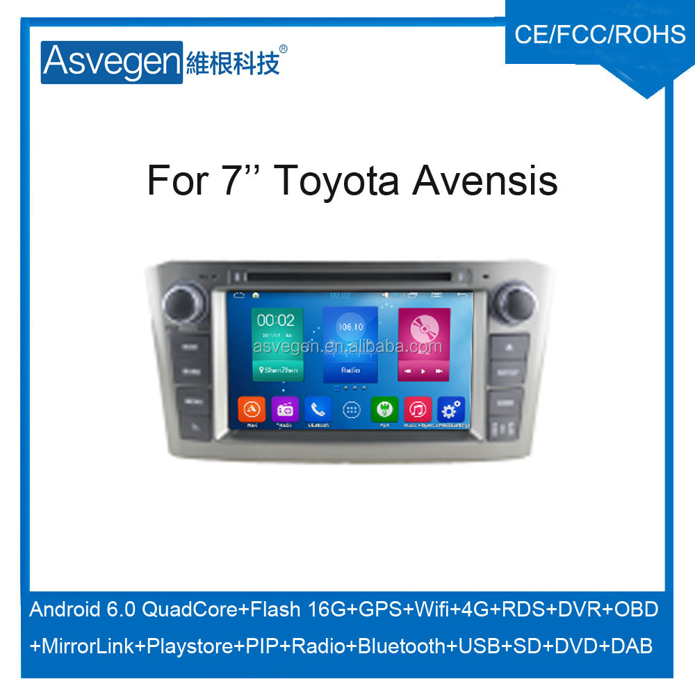 Wholesale Android Car DVD Player For 7'' Toyota Avensis 2005-2007 GPS Support Radio Wifi Playstore With Auto Spare Parts Car
