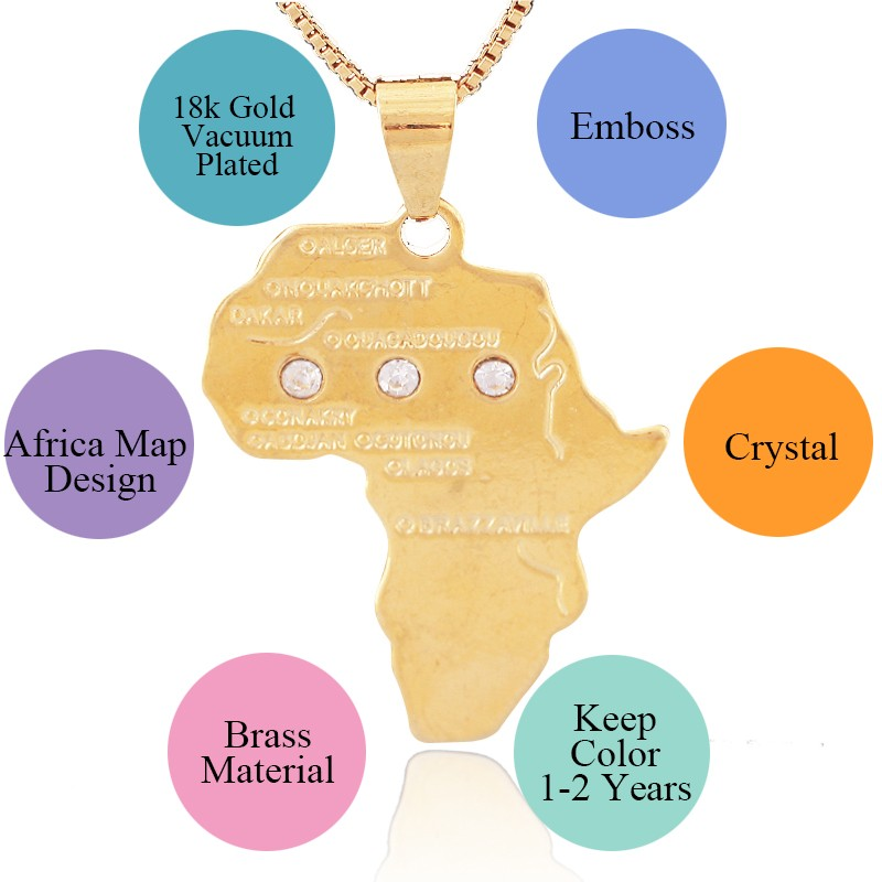 18k Glod Plating Copper material Africa Map Pendant