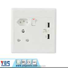 South Africa India Brazil type usb wall socket with usb charger outlet 250V 16A
