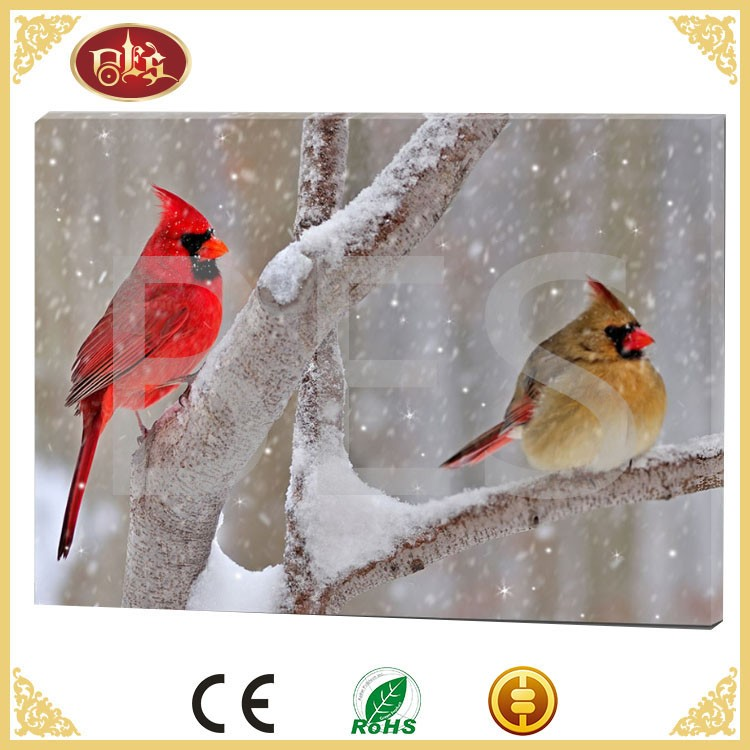 Christmas lighted canvas oil bird wall print painting with led light