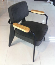 Replica Jean Prouve European design metal frame direction chair with Fabric cover seat