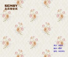 Waterproof vinyl beautiful rose flower PVC Wallpaper / Wall Paper