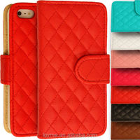 PU Leather Quilted Flip Wallet Case Cover For Apple iPhone 4 4S