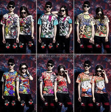 Fashion hot sales digital print hip pop couple t shirt