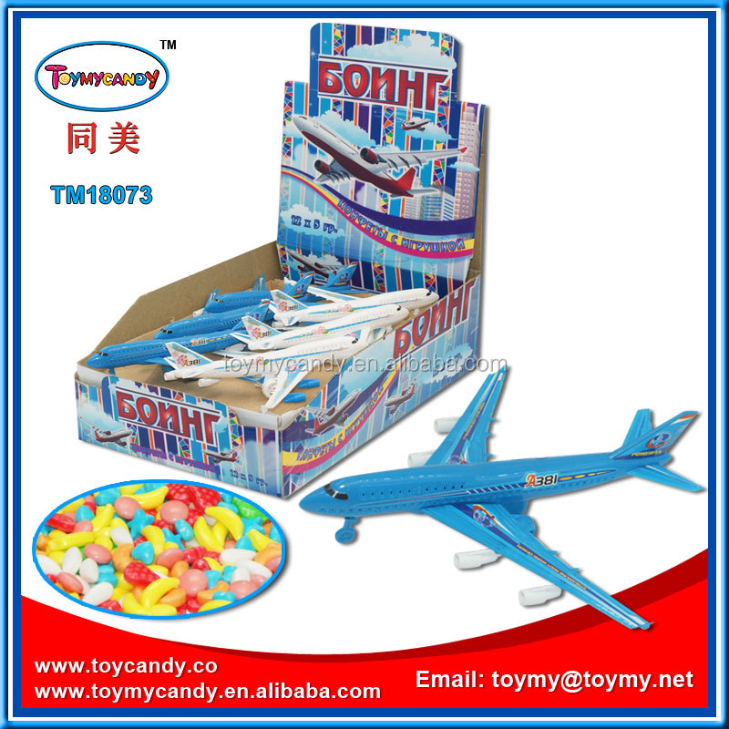 Hot selling for 2016 good quatity candy toy from Toymy factory pull back plane toy with weet candy for kids