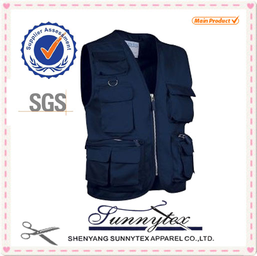 SUNNYTEX 100% Cotton New Design blue fishing vest