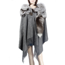 New Product real cashmere cape with whole silver fox fur cape high quality fur cape KZ150096