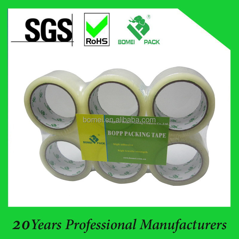 Clear Hot Melt BOPP Adhesive Packing Tape 6 rolls per flat shrink