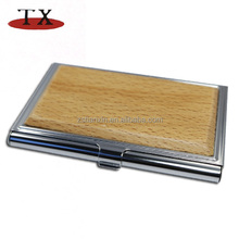 Promotion aluminum wooden business name card holder wooden card case