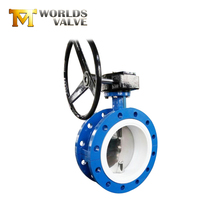 PTFE double eccentric worm gear flange/ flanged type butterfly valve