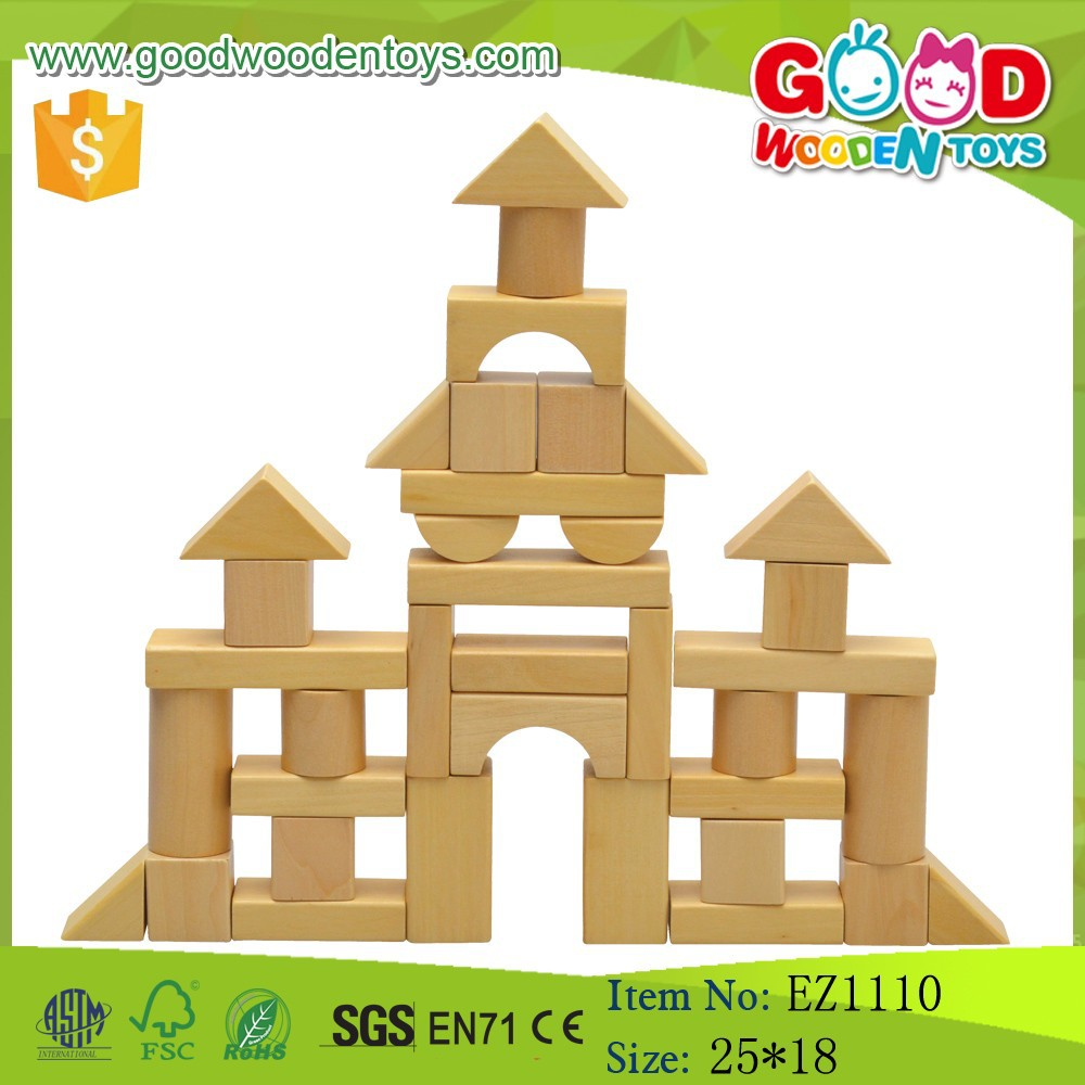 Hot Sale DIY Natural Wooden Block Educational Wooden Toy Blocks