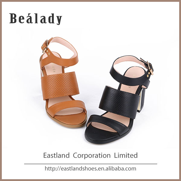 (EZHS14-1955A) Italian fashion lady shoe high heel chunky heel sandals laser hole slingback buckle sandals