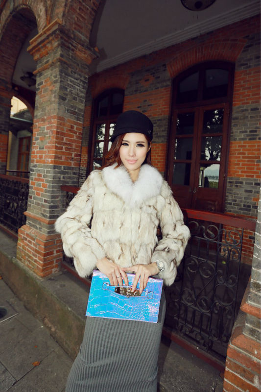 Janefur Lady's Fashion Natural Fox Fur Coat/Fashion Style