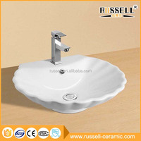 White art style bathroom vitreous ceramic wash basin sink