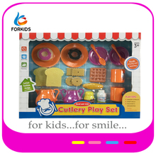 Funny kids plastic play food,pretend kitchen play toy tea set