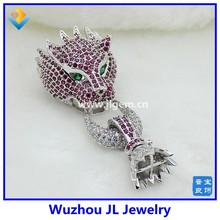 925 Sterling silver jewelry wholesale fashion leopard diamond necklace silver 925 leopard button pendant