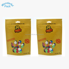 2018 New Customized Natural Dog Treat Pack Stand Up Brown Printed Zipper Kraft Paper Packaging Bag