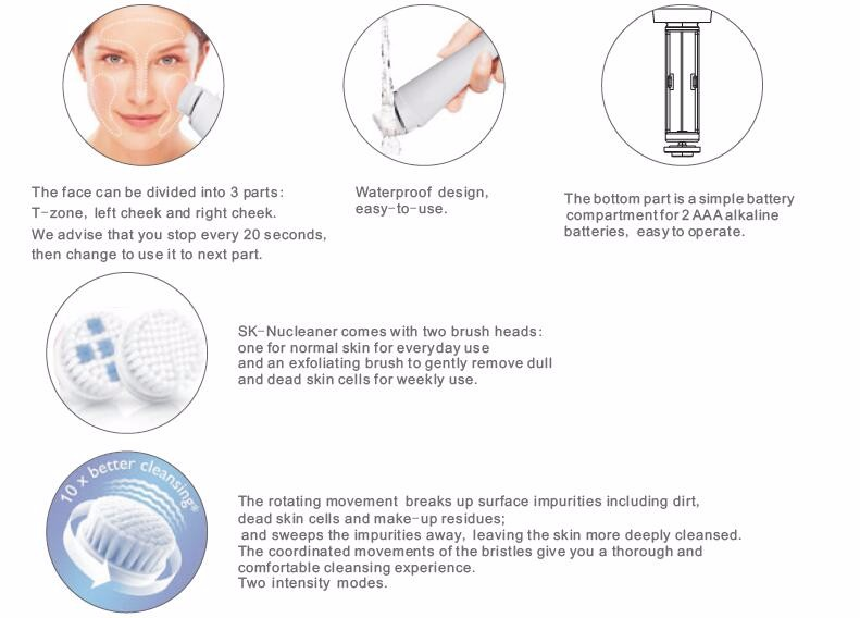 2016 Hot Sale Waterproof Face Skin Cleansing Brush Machine Rechargeable Sonic Electric Facial Brush For Exfoliating And Massage
