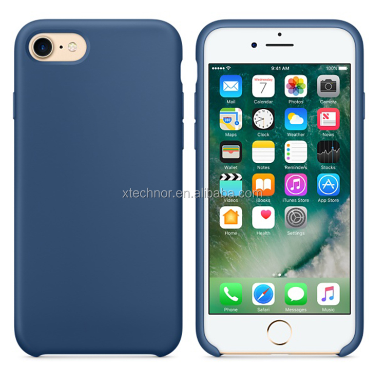 Luxury Original Silicone Cover Ultra-Thin Phone Case for iPhone 7-Ocean Blue