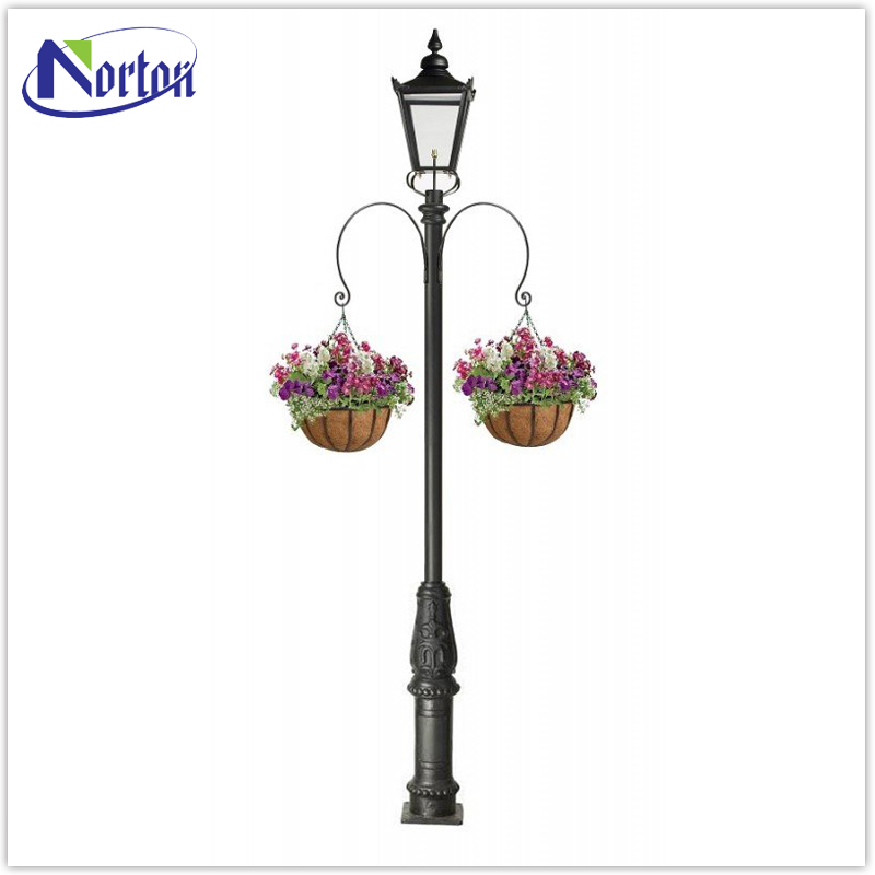 Ornate cast iron lamp post with large glass lantern NTBM-457A