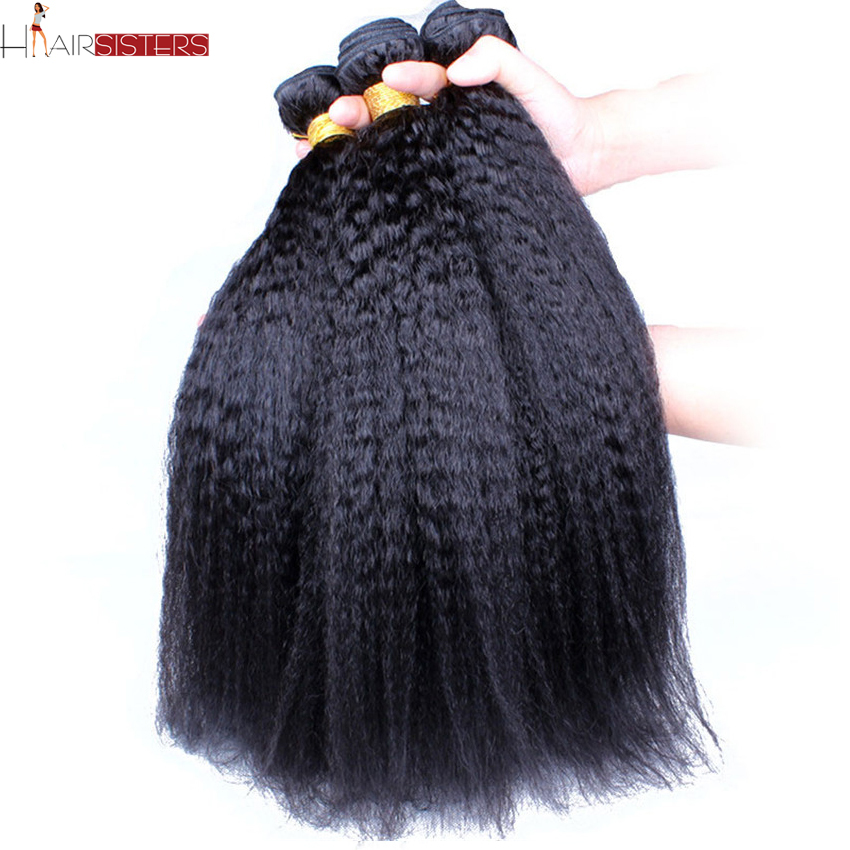 Grade 6A Peruvian Virgin Hair Weave Peruvian Kinky Straight Hair Extension 3Pcs/Lot Coarse Yaki Virgin Hair Light Yaki Straight