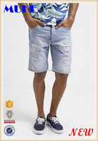 Men shorts Distressed Classic Short Jeans Pants- Men Half Denim Destroy Light Blue Jeans Pants