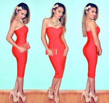 New 2015 Spring Summer High Quality Strapless HL Knee Length Bandage Dresses Red 10 Colors Kim Kardashian