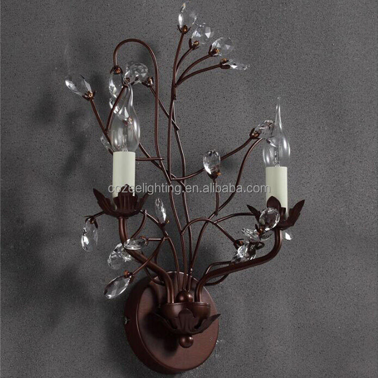 Antique Lighting Products Vintage Crystal Chandelier Wrought Iron Wall Sconce Decor Lamp CZ2539/2