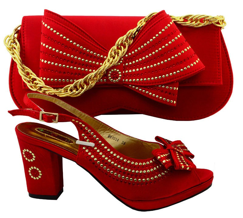 Italian Hot Selling Shoes And Bag Matching Set 2017 Coral Ladies Shoes