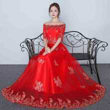 ZHF291 2018 Elegant woman red flower lace long party evening dress