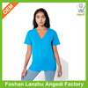 Good quality women v neck t shirt bright color