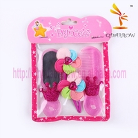 Princess make up mirror plastic comb decorative hair comb for kids