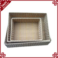 Hand woven pe rattan rectangular storage basket for home and shop