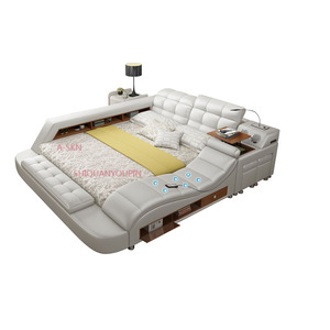 Guangdong bedroom furniture multifunction storage bed with massage music design of leather bed