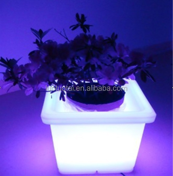 Fashionable rechargable led flower pot/Led square flower pot/Small led flower pot