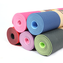 Wholesale TPE private label two layer natural anti-slip eco-friendly yoga mat