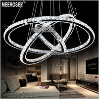 Meerosee LED Crystal Chandelier Light Diamond Ring Pendant LED Light 3 Circles LED Lighting MD8825
